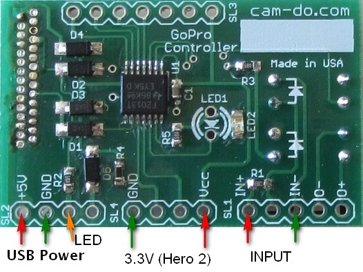 GoPro Controller Board Application Notes on gopro battery, gopro cable, gopro harness diagram, gopro parts,